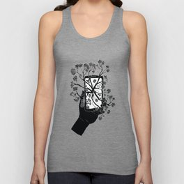 Break Free Cellphone Illustration - Hand holding cellphone growing a tree. Unisex Tank Top