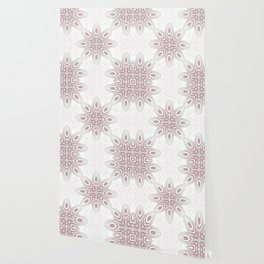 Feathers, Geometric Pattern in Mauve and Grey Wallpaper