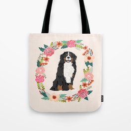 bernese mountain dog floral wreath dog gifts pet portraits Tote Bag