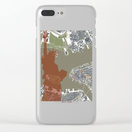New York city map engraving liberty Clear iPhone Case