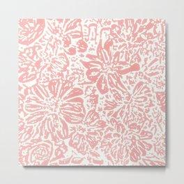 Marigold Lino Cut, Rose Pink Metal Print