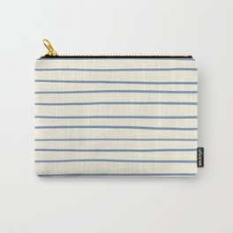 Dusk Sky Blue 27-23 Hand Drawn Horizontal Lines on Dover White 33-6 Carry-All Pouch