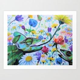 Flower Tongue Chameleons Art Print