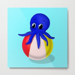 Octobaby on Beachball Metal Print
