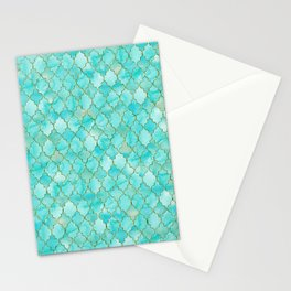 Luxury Aqua Teal and Gold oriental quatrefoil pattern Stationery Cards