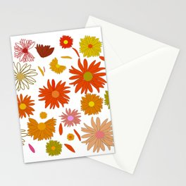 Painted colorful flowers Stationery Cards