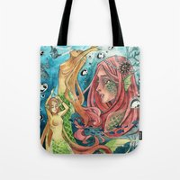mermaids Tote Bags featuring Mermaids by rumpelstiltskinned