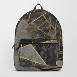 Dark Gray Stone Marble with Gold Backpack