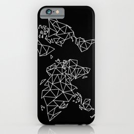 White on Black Geometric Low Poly Map of The World / Polygon geometry iPhone Case