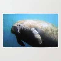 manatee Area & Throw Rugs featuring Manatee by BlueMoonArt