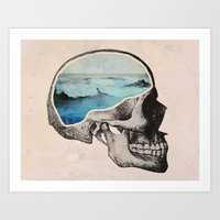 collage Art Prints featuring Brain Waves by Chase Kunz