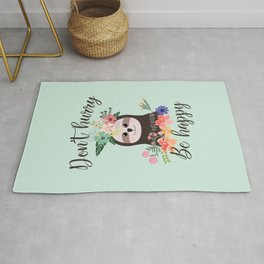 SLOTH ADVICE (mint green) - DON'T HURRY, BE HAPPY! Rug