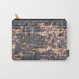 black orange urban worn damaged brick wall photo texture Carry-All Pouch