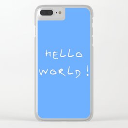 Hello world - blue Clear iPhone Case