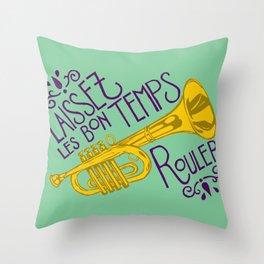 Les Bon Temps New Orleans Jazz Trumpet Throw Pillow