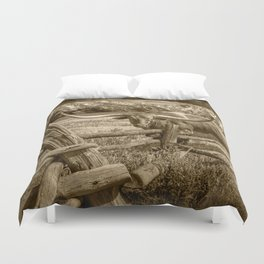 Texas Longhorn Steer by an Old Wooden Fence in Sepia Tone Duvet Cover