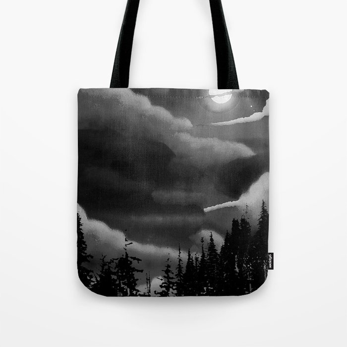 Bright Cloudy Night Sky in Black and White Tote Bag