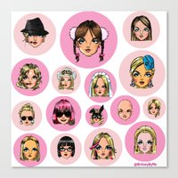 cartoons Canvas Prints featuring CartooNEY - Britney Spears Cartoons by Eduardo Sanches Morelli