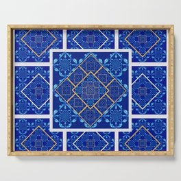 Geometric Fractal Moroccan Tile Quilt Serving Tray