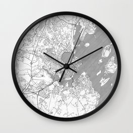 Portland Maine Map Line Wall Clock