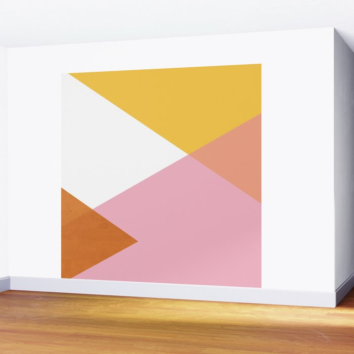 Geometrics - sorbet & orange concrete Wall Mural