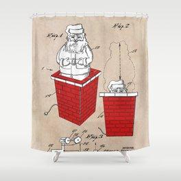 patent art Rubens Disappearing Santa in Chimney 1960 Shower Curtain