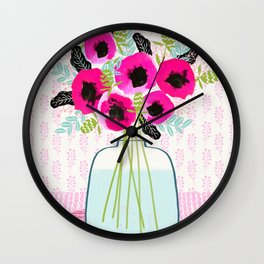 Poppies Vase of flowers cut flower mother's day cute florals illustration Andrea Lauren Wall Clock