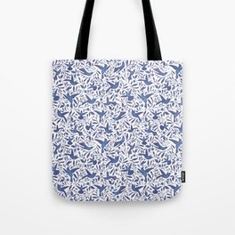 Delft Blue Humming Birds & Leaves Pattern Tote Bag