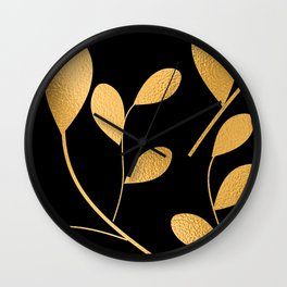 Art Deco Glam Gold Chic Floral Design Pattern Wall Clock