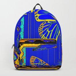Lapis Blue & Gold Monarch Western Art design Backpack