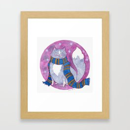 Smart Witch Cat in a Blue and Bronze Scarf Framed Art Print