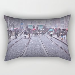 Trams in the snow Rectangular Pillow