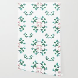 Magical Minimalism Tropical Floral Dinosaur Print Wallpaper
