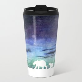 Aurora borealis and polar bears (white version) Travel Mug