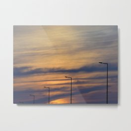 Silhouette of lights on a quiet bridge Metal Print