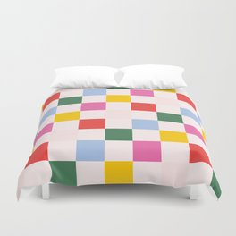 Retro Bauhaus Pattern | Abstract Shapes | Geometric Checks Duvet Cover