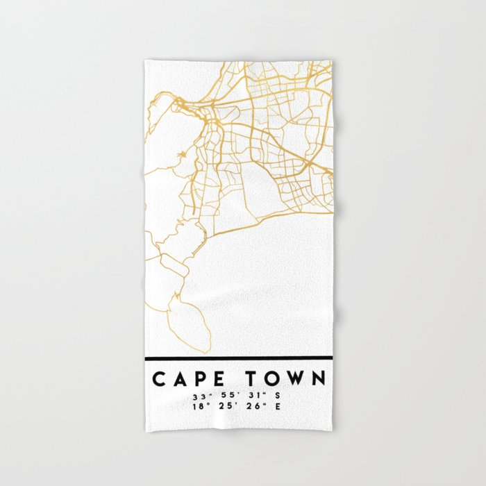 CAPE TOWN SOUTH AFRICA CITY STREET MAP ART Hand & Bath Towel by ...