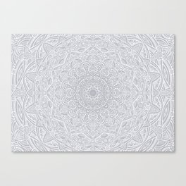 Most Detailed Mandala! Cool Gray White Color Intricate Detail Ethnic Mandalas Zentangle Maze Pattern Canvas Print