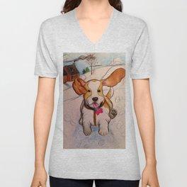 Sadie the Sled Dog? Unisex V-Neck