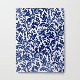 William Morris Thistle Damask, Cobalt Blue & White Metal Print