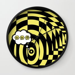 optical visual illusion thinking cloud of black and white chess board tunnel op art  Wall Clock