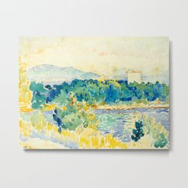 Mediterranean Landscape With a White House Watercolor Landscape Painting Metal Print