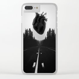 Black Heart Road Clear iPhone Case