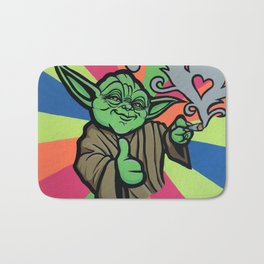 Yoda bright - acrylic on canvas - 20X16 - blac light glow Bath Mat