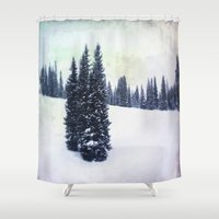 ski Shower Curtains featuring November Ski by Amelia Vilona