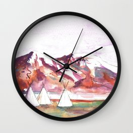 Three Jewels Watercolor Painting of Three Tipis Wall Clock