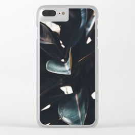 Dark Leaves Clear iPhone Case