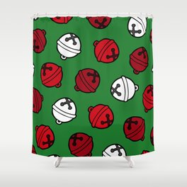 Jingle Bells Christmas Pattern in Red, White & Green Shower Curtain