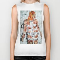 fifth element Biker Tanks featuring LEELOO THE FIFTH ELEMENT by JANUARY FROST