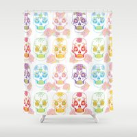sugar skulls Shower Curtains featuring Sugar Skulls by Bird & Bow Studios